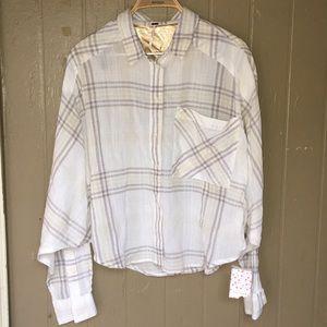 Free People oversized crop plaid shirt